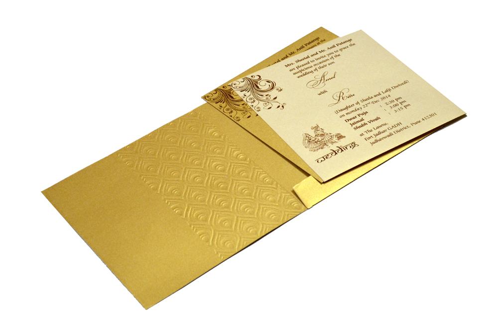 Hindu Wedding Card RB 1225 GOLD Inside View