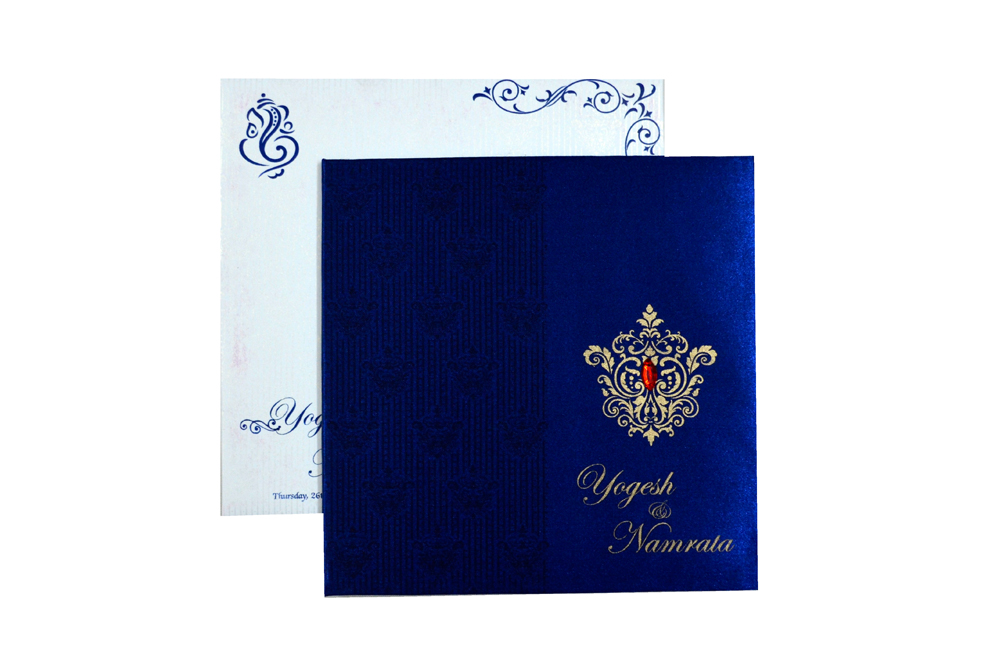 Designer Wedding Card RB 1231 BLUE Top View