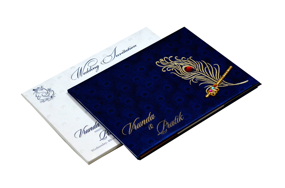 Peacock Theme Satin Cloth Wedding Card RB 1234 BLUE