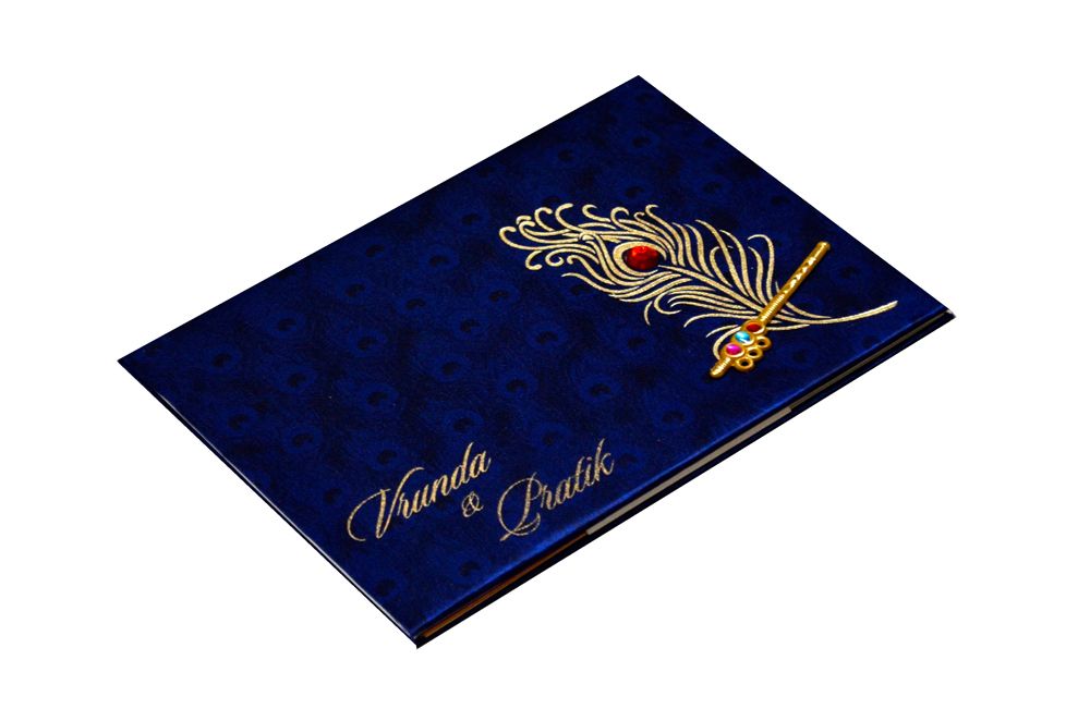 Peacock Theme Satin Cloth Wedding Card RB 1234 BLUE Card