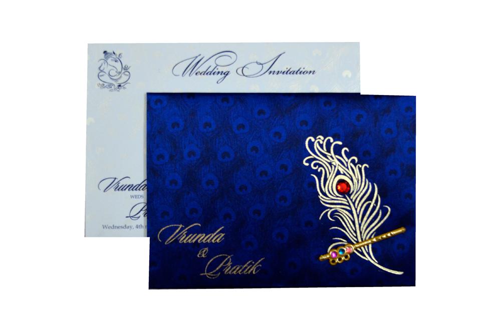 Peacock Theme Satin Cloth Wedding Card RB 1234 BLUE Top View