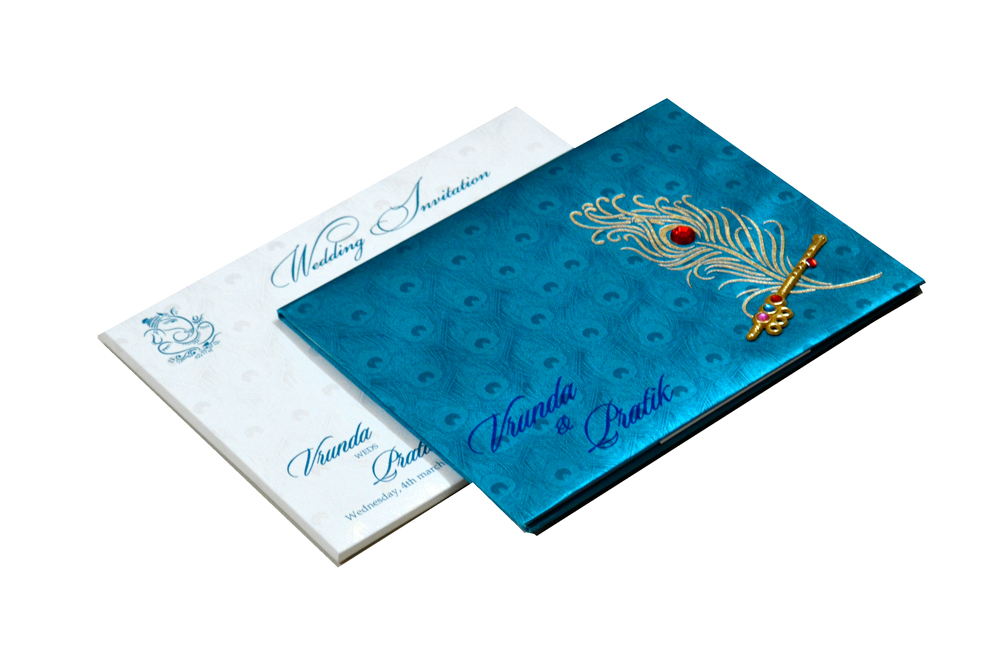Peacock Theme Satin Cloth Wedding Card RB 1234 FIROZI