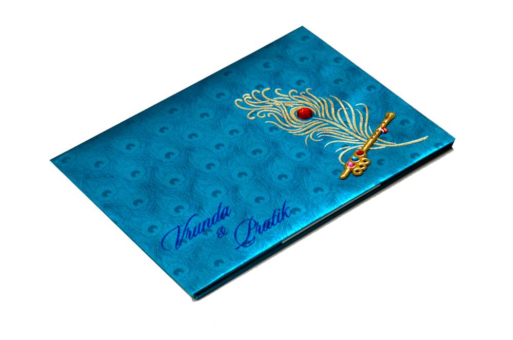 Peacock Theme Satin Cloth Wedding Card RB 1234 FIROZI Card