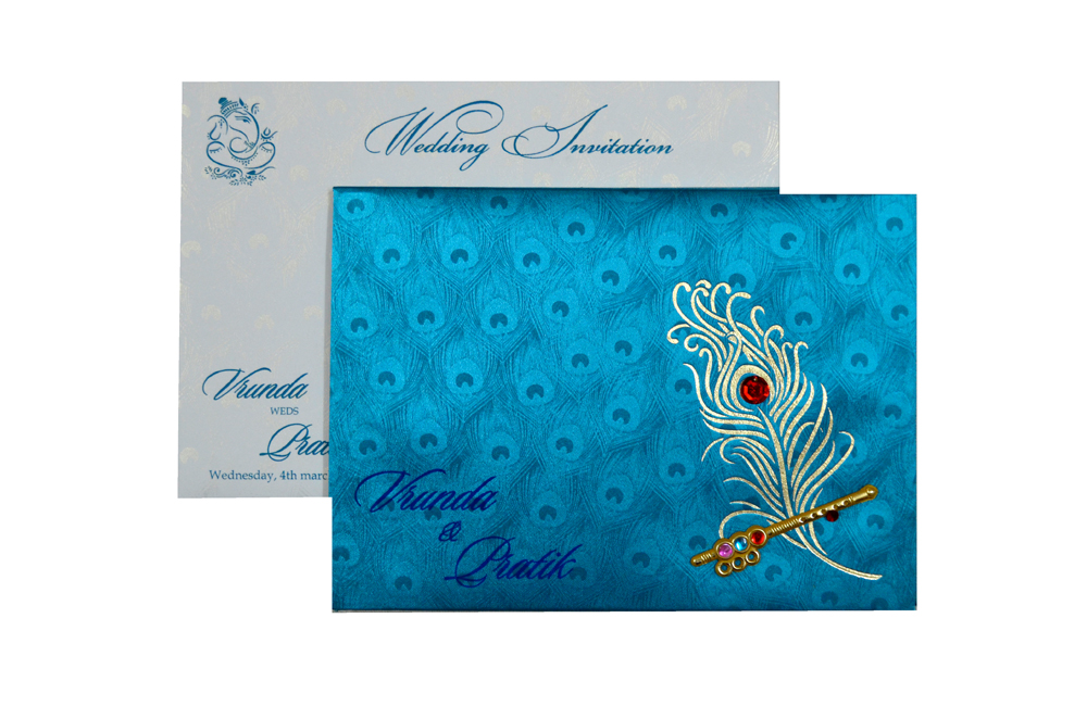 Peacock Theme Satin Cloth Wedding Card RB 1234 FIROZI Top View