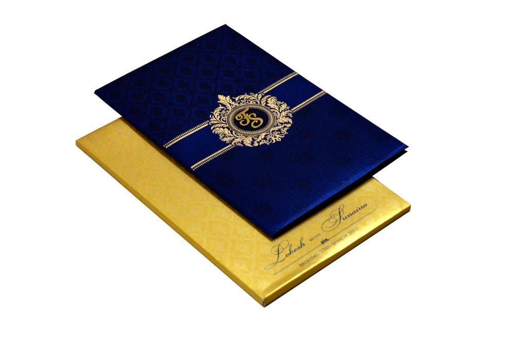 Designer Satin Cloth Wedding Card RB 1239 BLUE