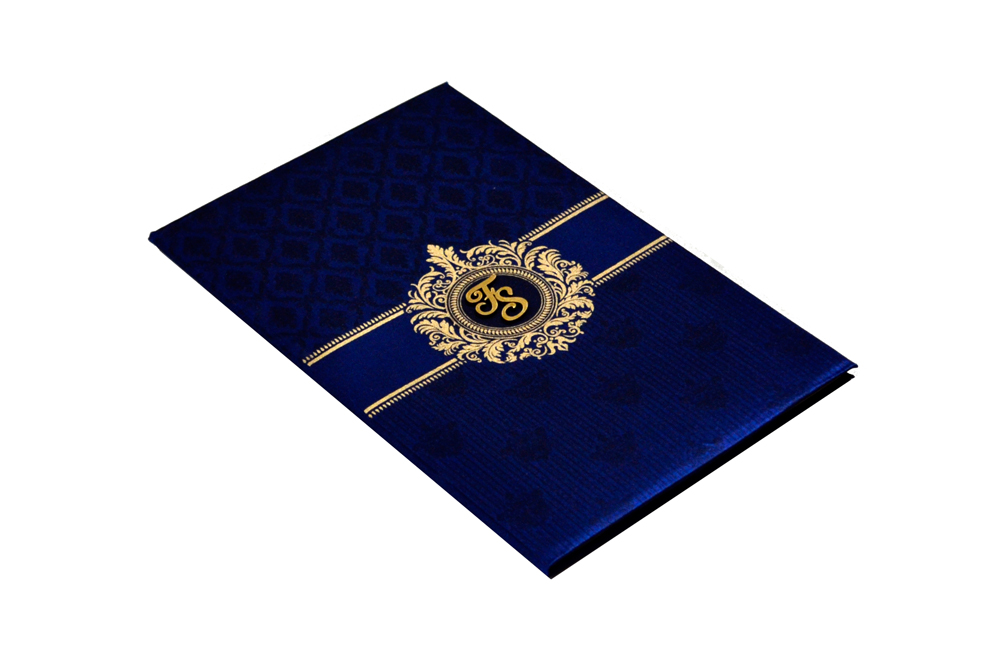 Designer Satin Cloth Wedding Card RB 1239 BLUE Card