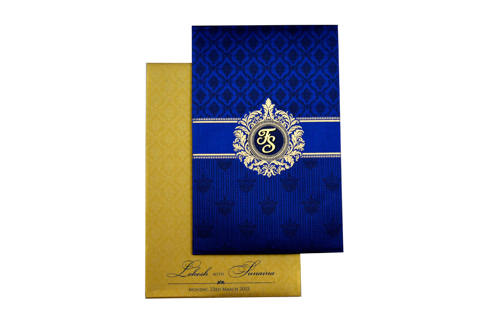 Designer Satin Cloth Wedding Card RB 1239 BLUE Top View