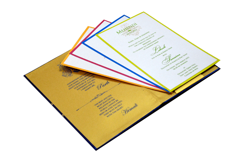 Designer Satin Cloth Wedding Card RB 1239 BLUE Inside View 1