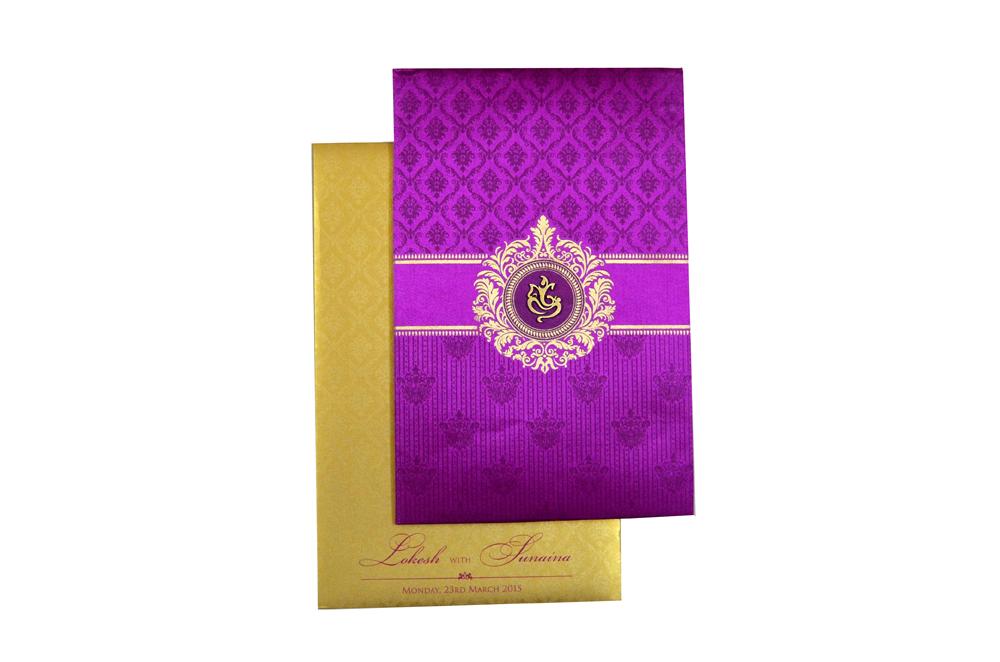 Designer Satin Cloth Wedding Card RB 1239 PINK Top View