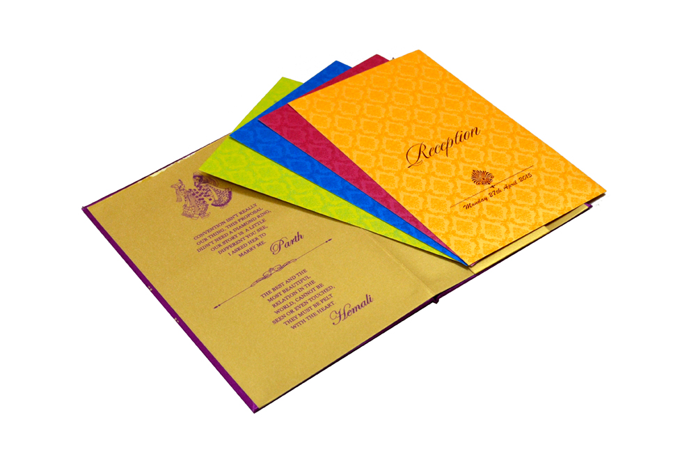 Designer Satin Cloth Wedding Card RB 1239 PINK Inside View 2
