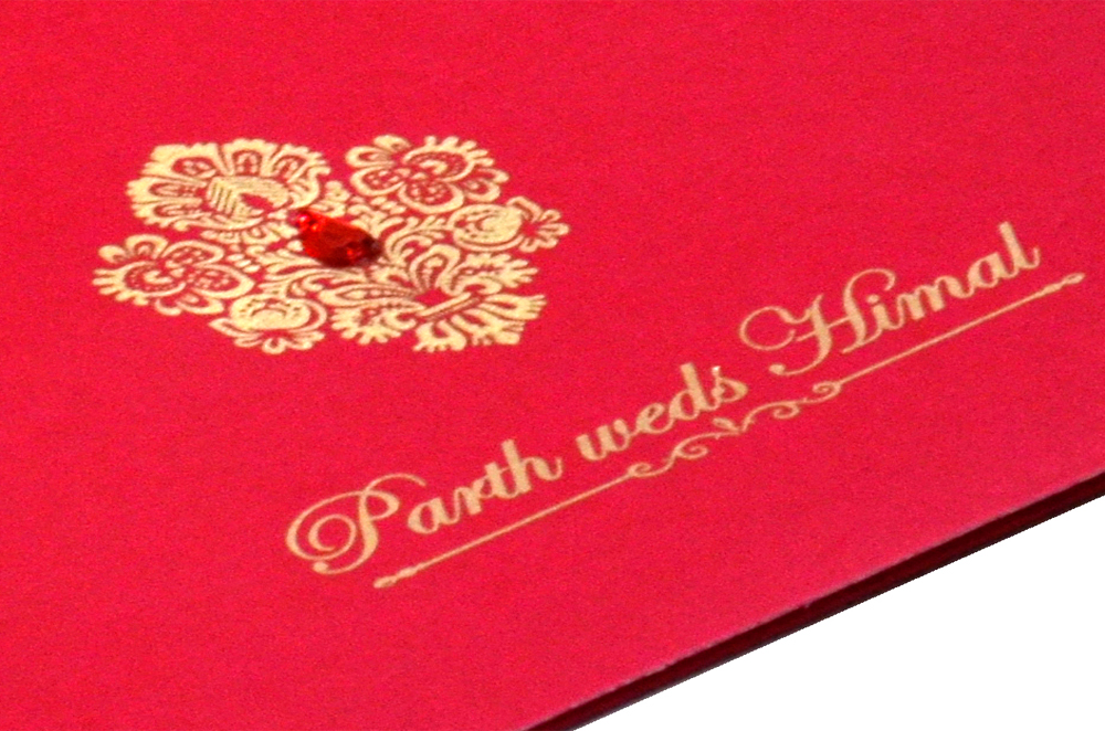 Designer Wedding Card RB 1240 RED Zoom View