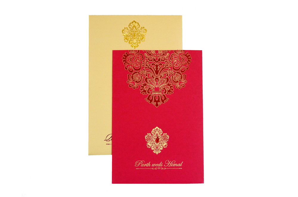 Designer Wedding Card RB 1240 RED Top View