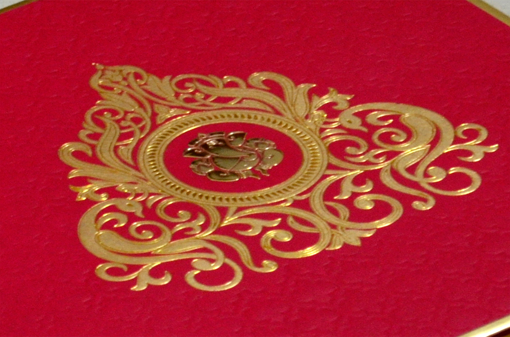Hindu Wedding Card RB 1241 RED Zoom View