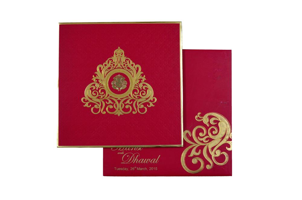 Hindu Wedding Card RB 1241 RED Top View