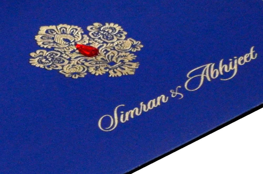Designer Wedding Card RB 1245 BLUE Zoom View