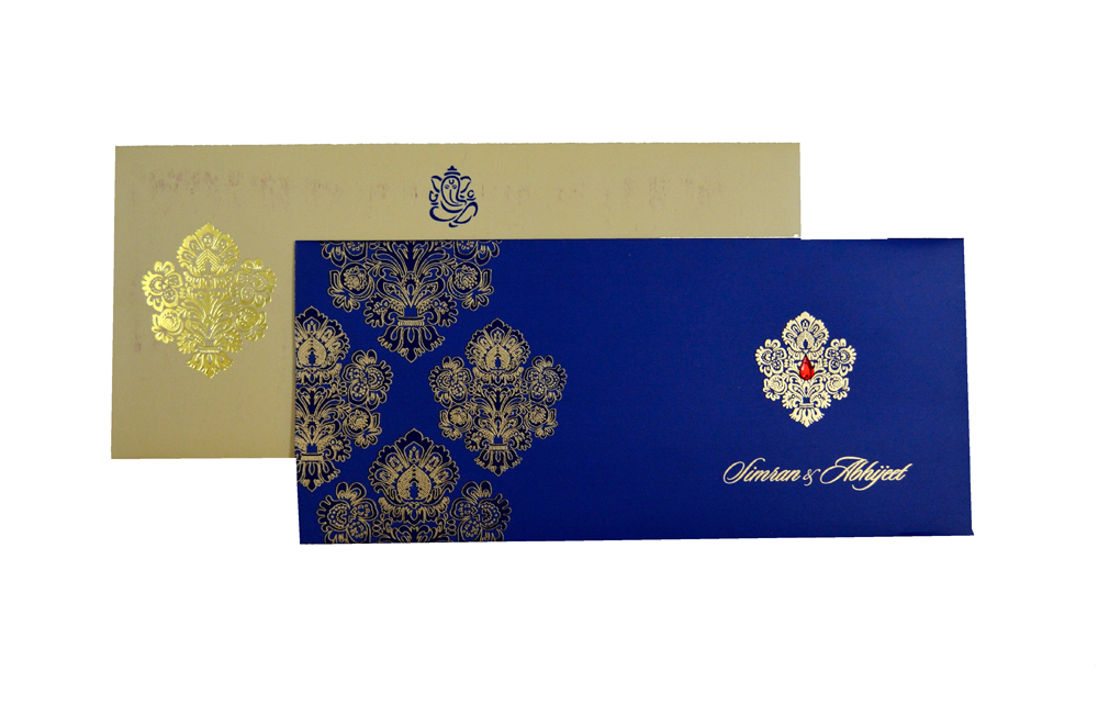 Designer Wedding Card RB 1245 BLUE Top View