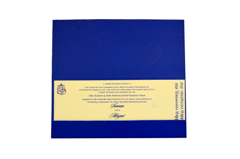 Designer Wedding Card RB 1245 BLUE Top Inside View