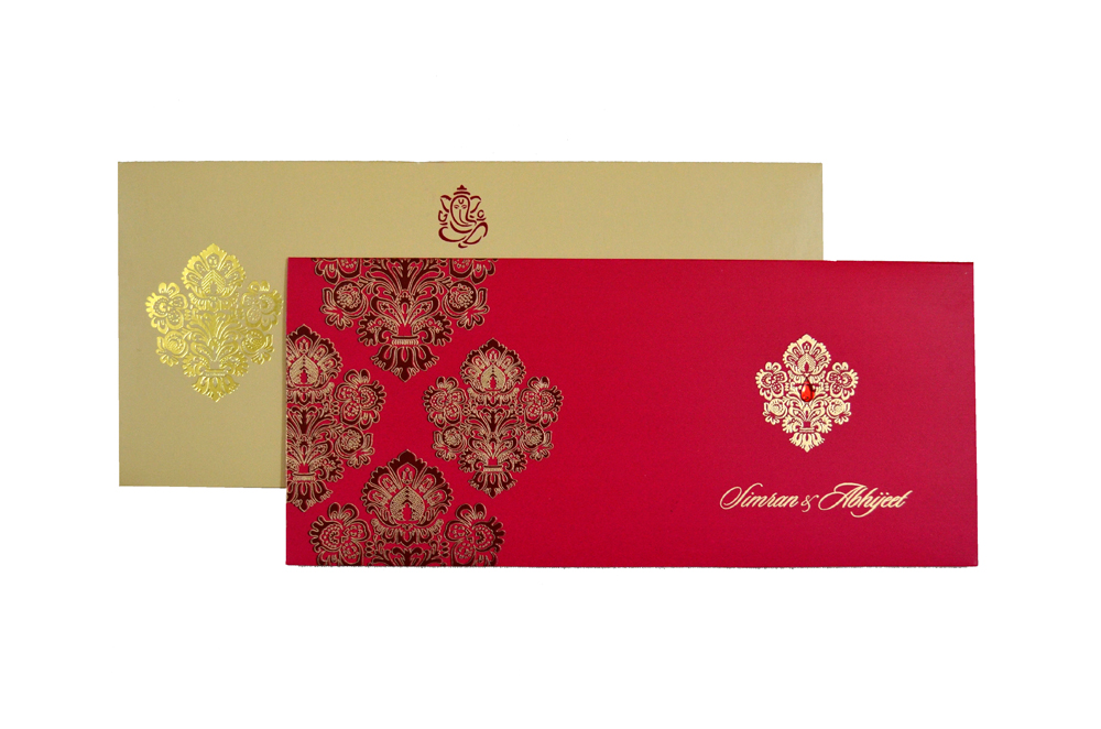 Designer Wedding Card RB 1245 RED Top View