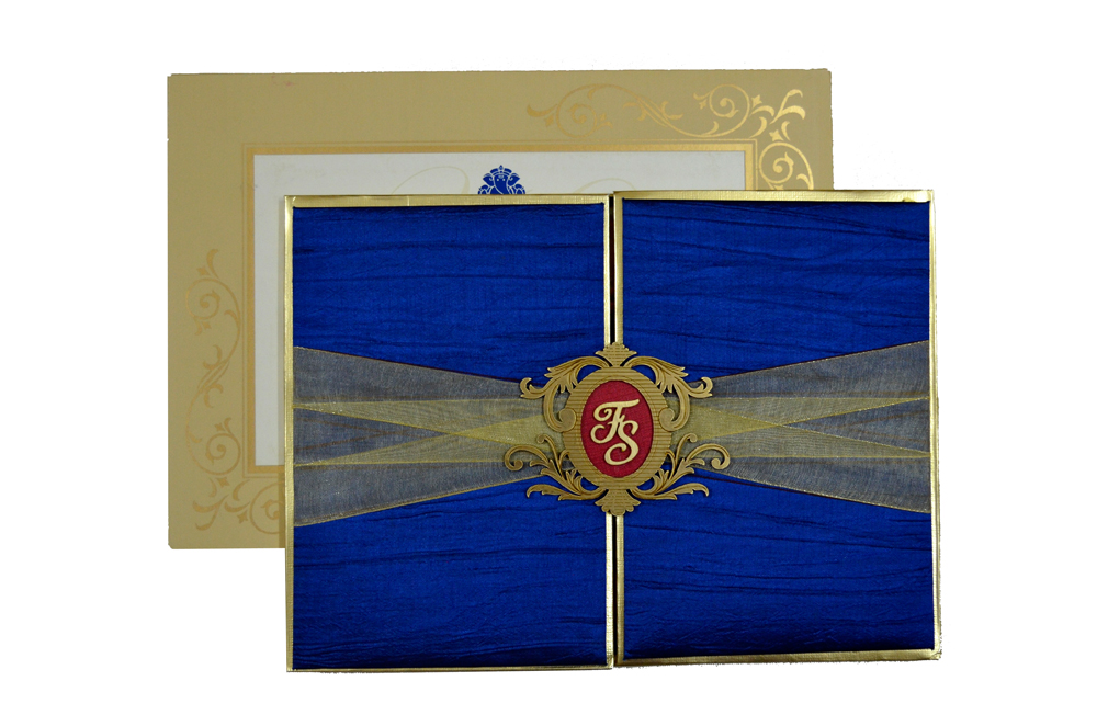Designer Satin Cloth Wedding Card RB 1254 BLUE Top View