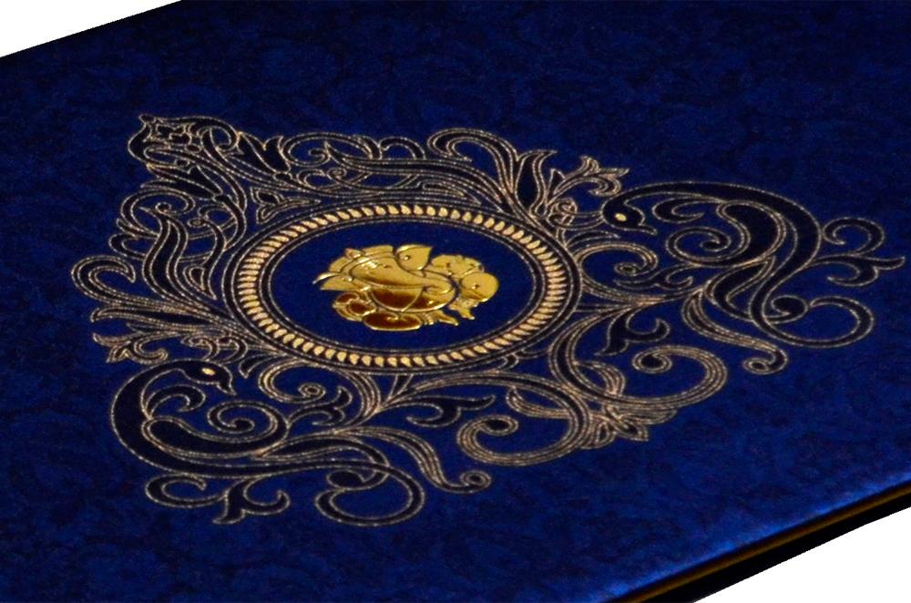 Hindu Satin Cloth Wedding Card RB 1264 BLUE Zoom View