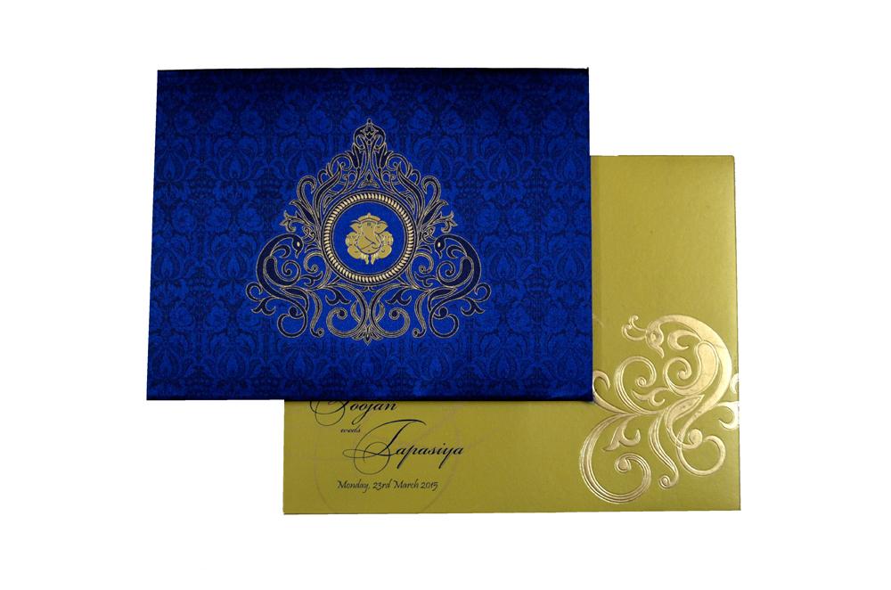 Hindu Satin Cloth Wedding Card RB 1264 BLUE Top View