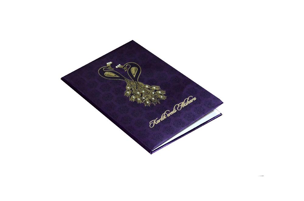 Purple Satin Cloth Peacock Theme Wedding Card Design AC 411 Card