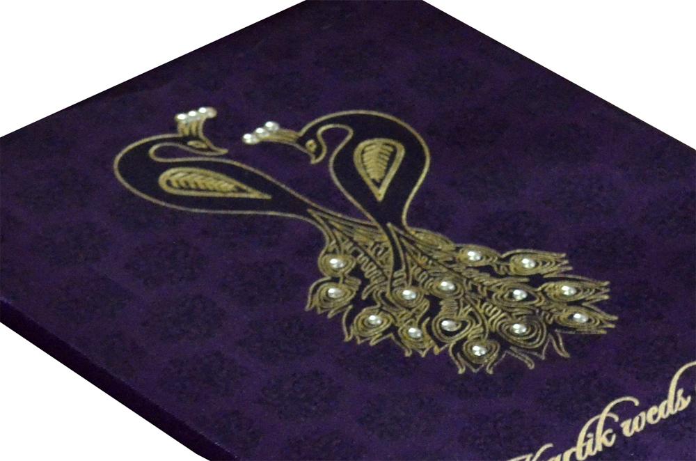 Purple Satin Cloth Peacock Theme Wedding Card Design AC 411 Zoom View