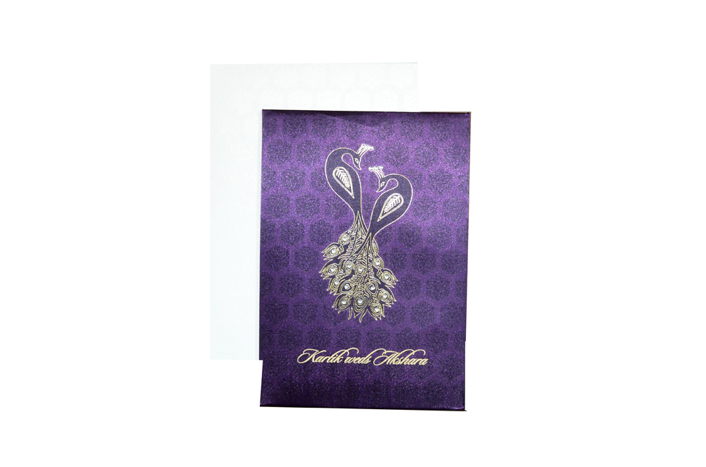 Purple Satin Cloth Peacock Theme Wedding Card Design AC 411 Top View
