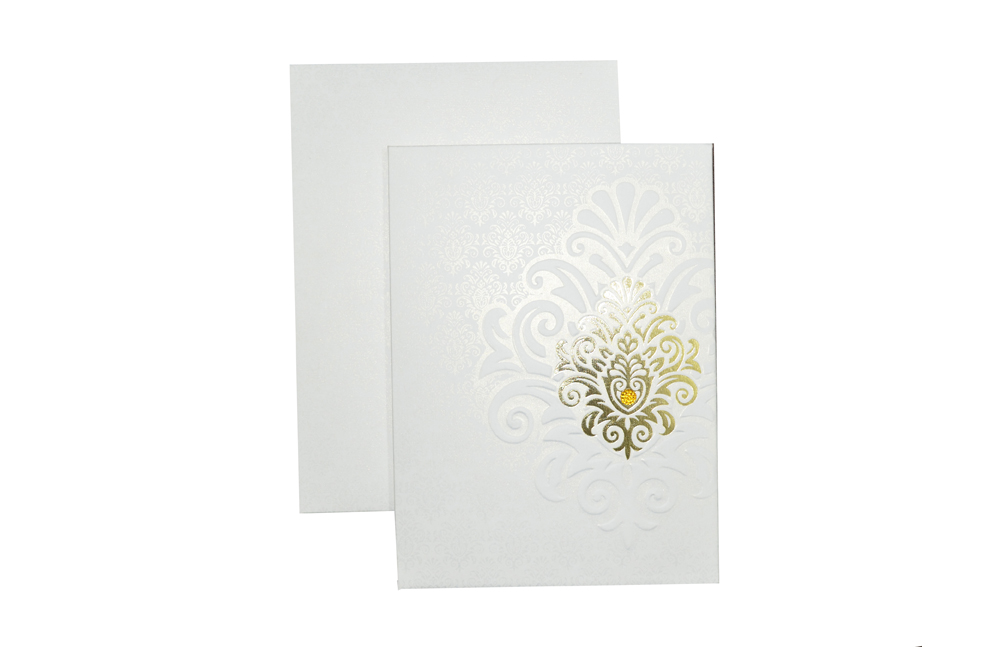White Padded Wedding Card AC 417 Top View