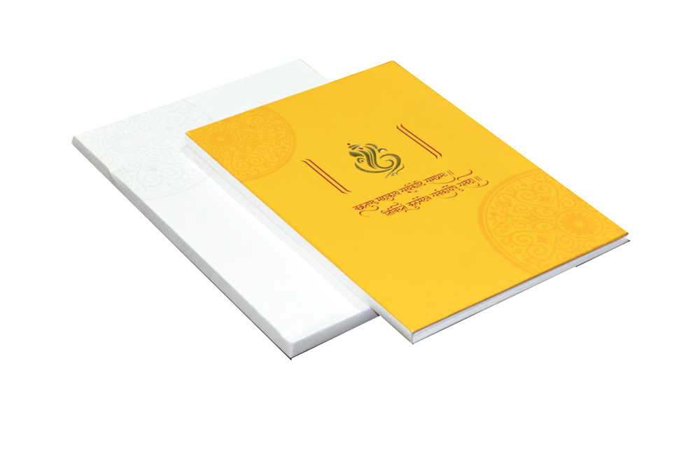 Yellow Hindu Wedding Card Design AC 419