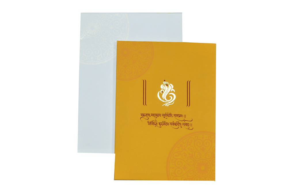 Yellow Hindu Wedding Card Design AC 419 Top View