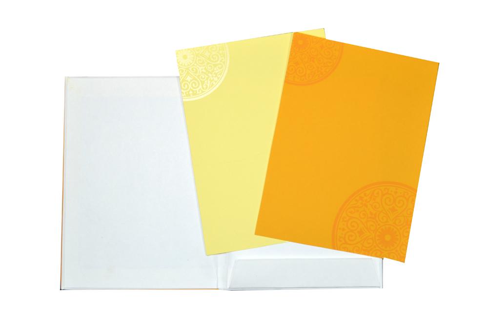 Yellow Hindu Wedding Card Design AC 419 Top Inside View