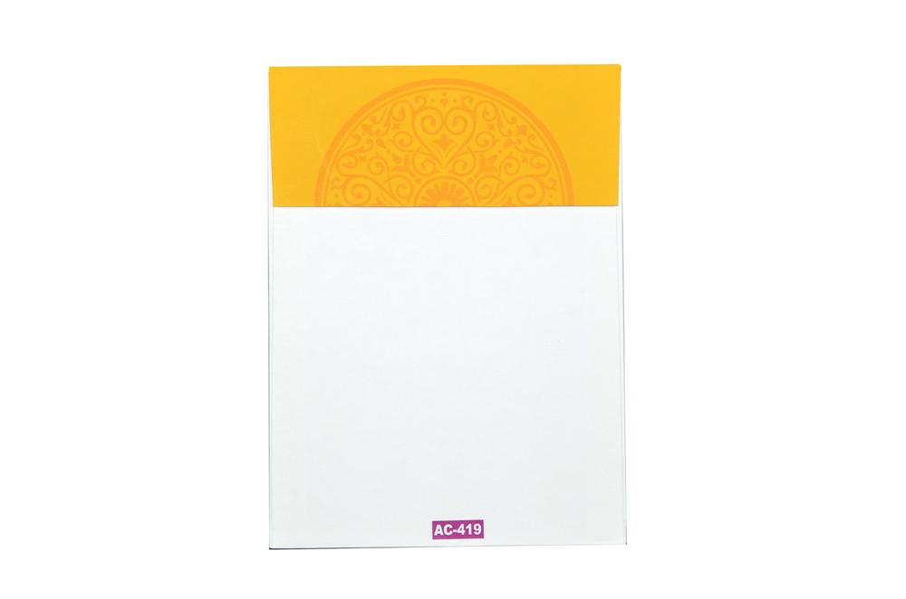 Yellow Hindu Wedding Card Design AC 419 Envelope Back View