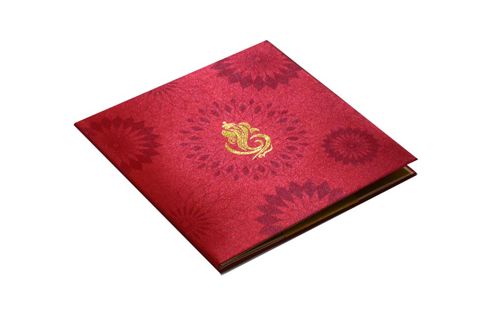 Red Satin Cloth Hindu Wedding Card AC 435 Card