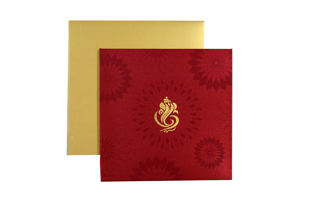 Red Satin Cloth Hindu Wedding Card AC 435 Top View