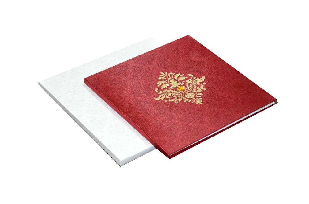 Red Satin Cloth Wedding Card AC 441