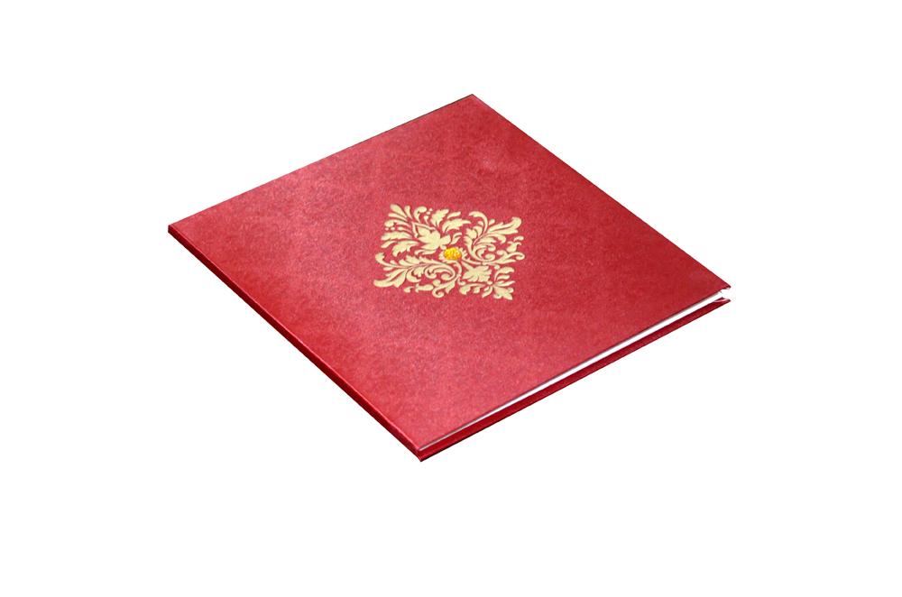 Red Satin Cloth Wedding Card AC 441 Card