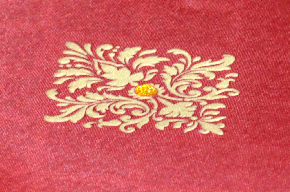 Red Satin Cloth Wedding Card AC 441 Zoom View