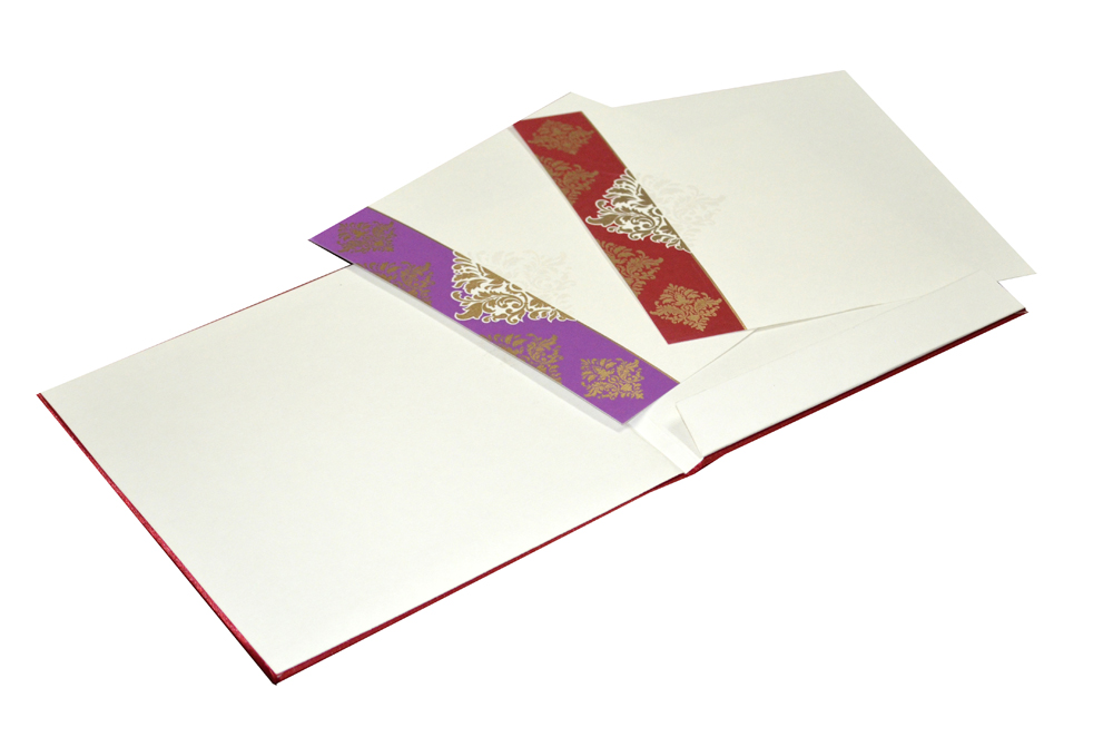 Red Satin Cloth Wedding Card AC 441 Inside View