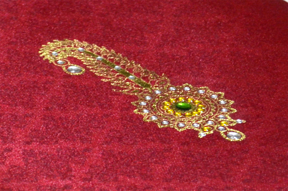 Groom Theme Red Satin Wedding Card AC 446 Zoom View