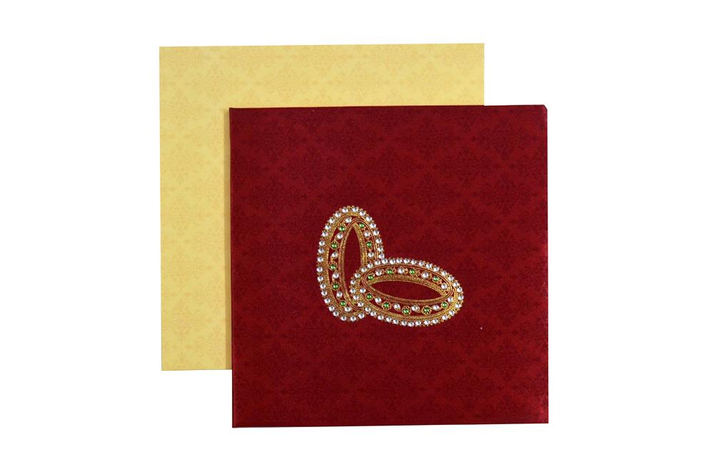 Bride Theme Red Satin Wedding Card AC 447 Top View