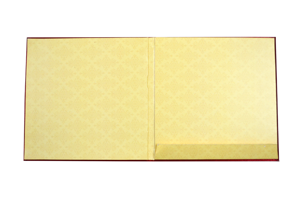 Bride Theme Red Satin Wedding Card AC 447 Top Inside View