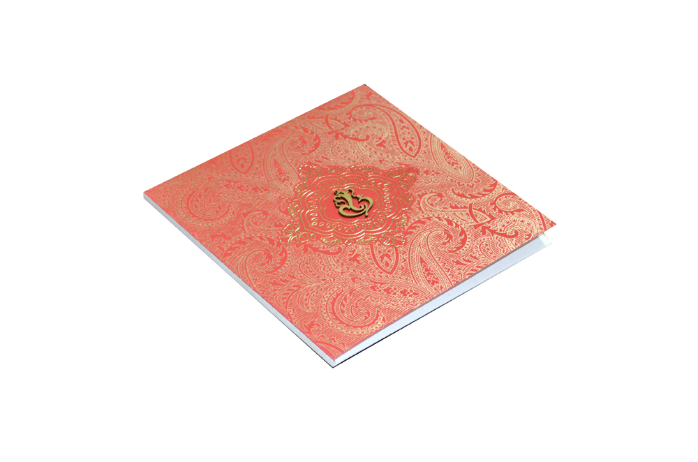 Red Hindu Wedding Card AC 450 Card