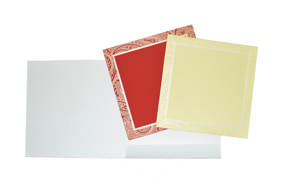 Red Hindu Wedding Card AC 450 Top Inside View