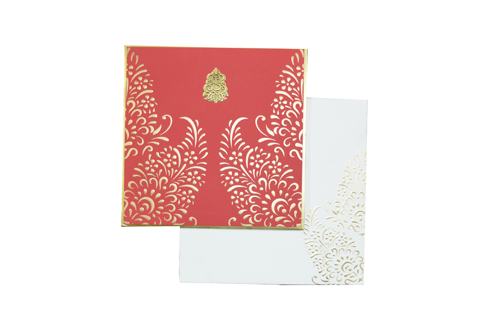 Red Hindu Wedding Card AC 463 Top View