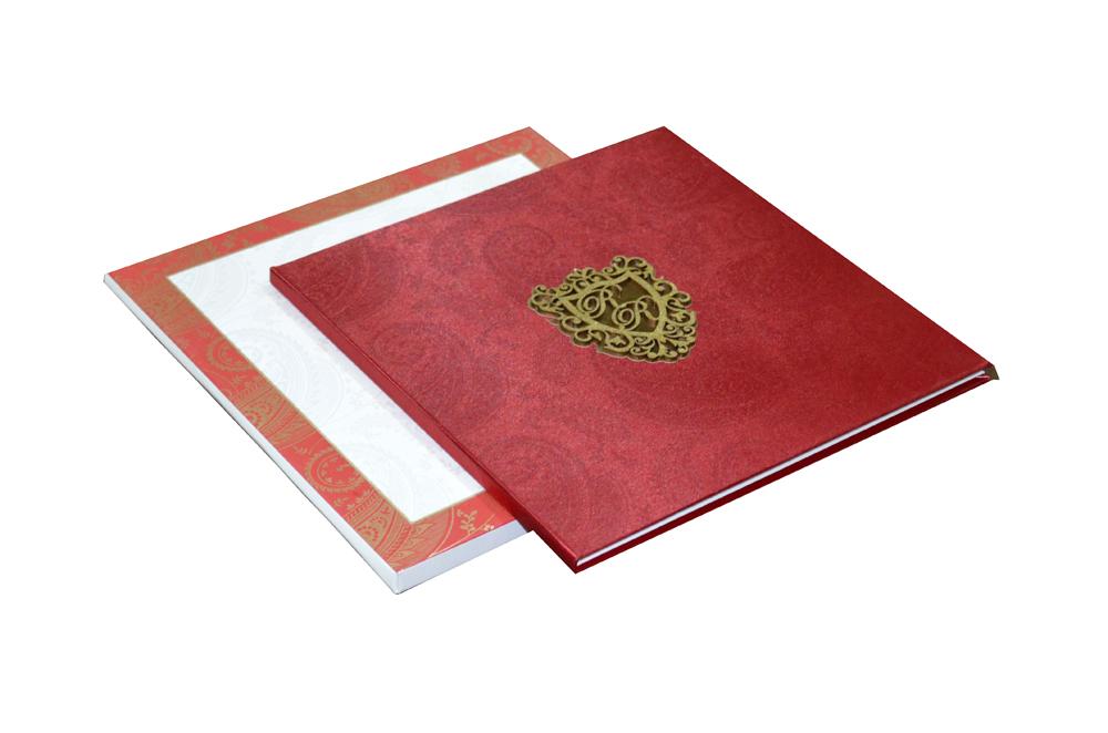 Red Satin Cloth Wedding Card AC 464