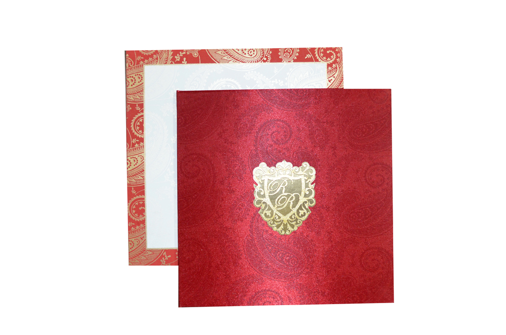 Red Satin Cloth Wedding Card AC 464 Top View