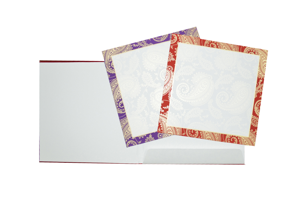 Red Satin Cloth Wedding Card AC 464 Top Inside View