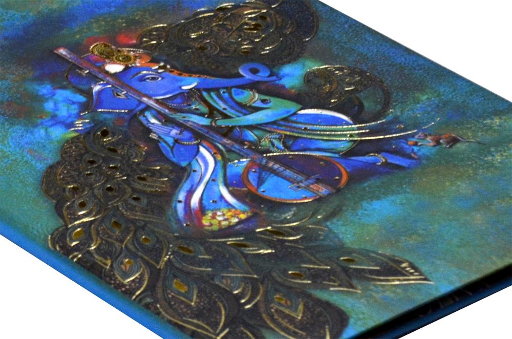 Ganesh & Peacock Wedding Card AC 520 Zoom View