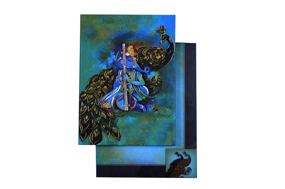 Ganesh & Peacock Wedding Card AC 520 Top View